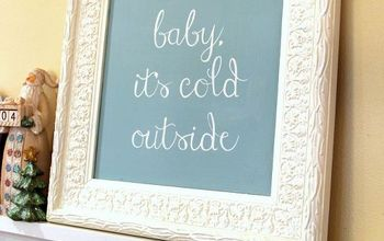 """""""baby, it's cold outside""""- Thrift Store Mirror Turned Holiday Art!"""