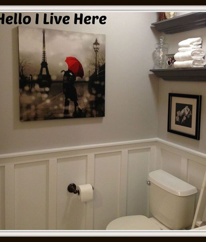finished board and batten wainscoting from Hello I Live Here.  (part II in master bath redo series.)