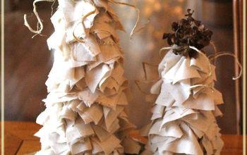 diy muslin winter trees, crafts, seasonal holiday decor, Easy DIY Muslin Wintry Trees