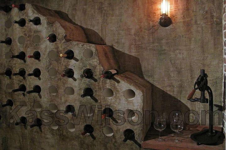 Close up of artistic finish on wine cellar walls.