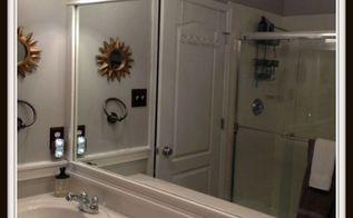 framing bathroom mirrors, bathroom ideas, diy, how to, woodworking projects, Framing Bathroom Mirrors from Hello I Live Here