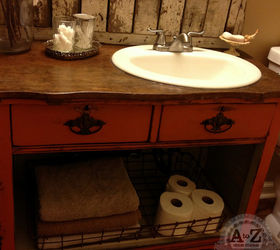 turning a dresser into a bathroom vanity bathroom ideas painted furniture repurposing upcycling & DIY Dresser Vanity for a Small Bath! | Hometalk
