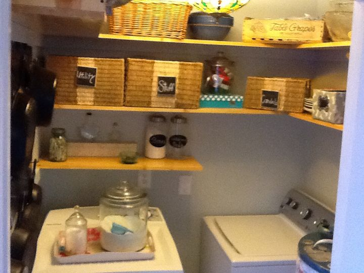 small space laundry utility room make over after photos, laundry rooms, shelving ideas, Cheap Large jar from Walmart for washing powder