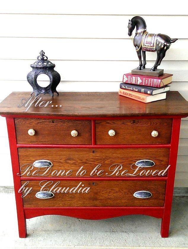 ruby red antique oak dresser, painted furniture, Ta dah - Ruby