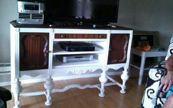 refinishing a buffet into an entertainment center, painted furniture, repurposing upcycling, Antique Buffet redone to Entertainment Center