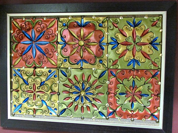 faux tin tiles made from disposable aluminum pans, crafts, painting, repurposing upcycling, This is one example of what you can make with these tiles Some of my readers have made backsplashes stair risers and even ceilings