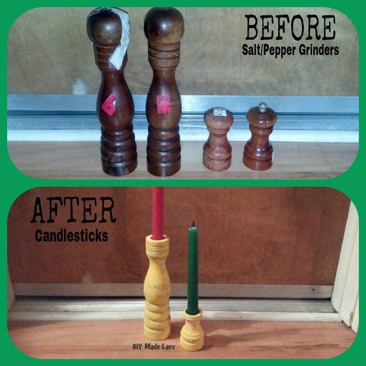 repurposed salt pepper grinders into candlesticks, crafts, repurposing upcycling