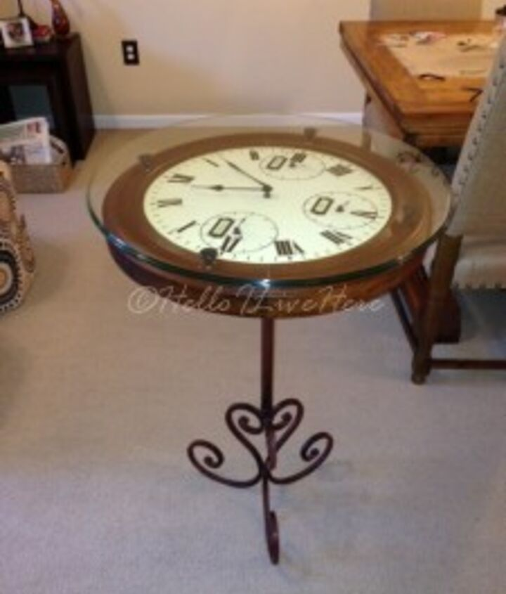 Finished DIY Clock Table from Hello I Live Here.