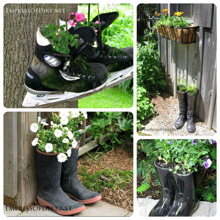 Skates and boots! http://www.empressofdirt.net/more-garden-container-ideas/