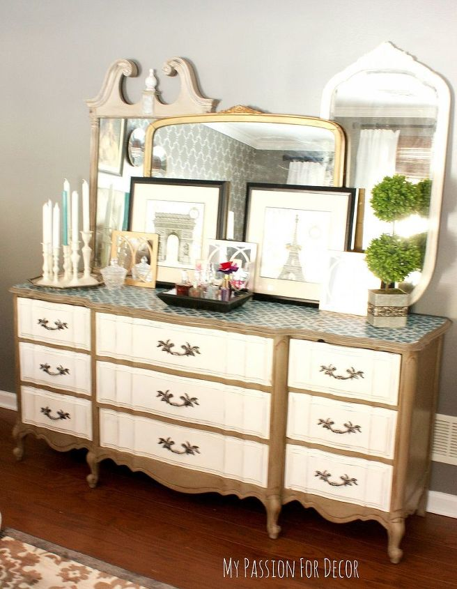 master bedroom makeover using a cutting edge stencil, bedroom ideas, chalk paint, home decor, painted furniture