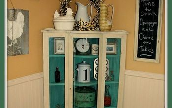 80 s oak bow front china cabinet turned vintage getorganized, painted furniture, Once I bought it in the house to photograph it I knew it wasn t leaving We loved it and that pop of color was just what the corner of my dining area needed