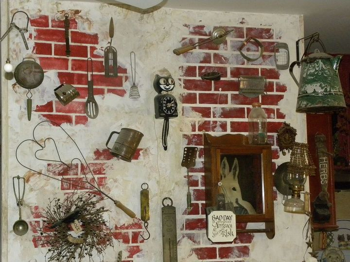 one kitchen wall, only the faux brick is painted