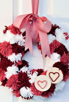 valentine s day pom pom wreath, crafts, seasonal holiday decor, valentines day ideas, wreaths, This wreath is easy to make and provides a big pop of colour on the wall or door