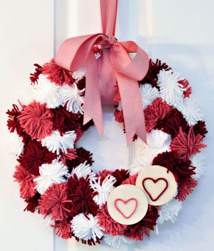 This wreath is easy to make and provides a big pop of colour on the wall or door!