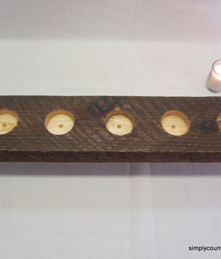 spaces drilled for candle holders