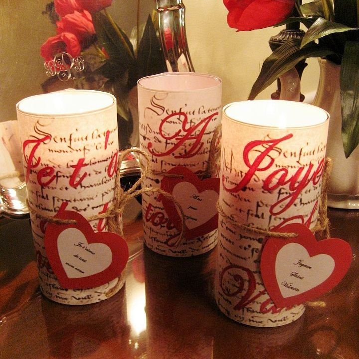Inexpensive And Easy To Make French Script Valentine Candles Include The Free Graphics Here