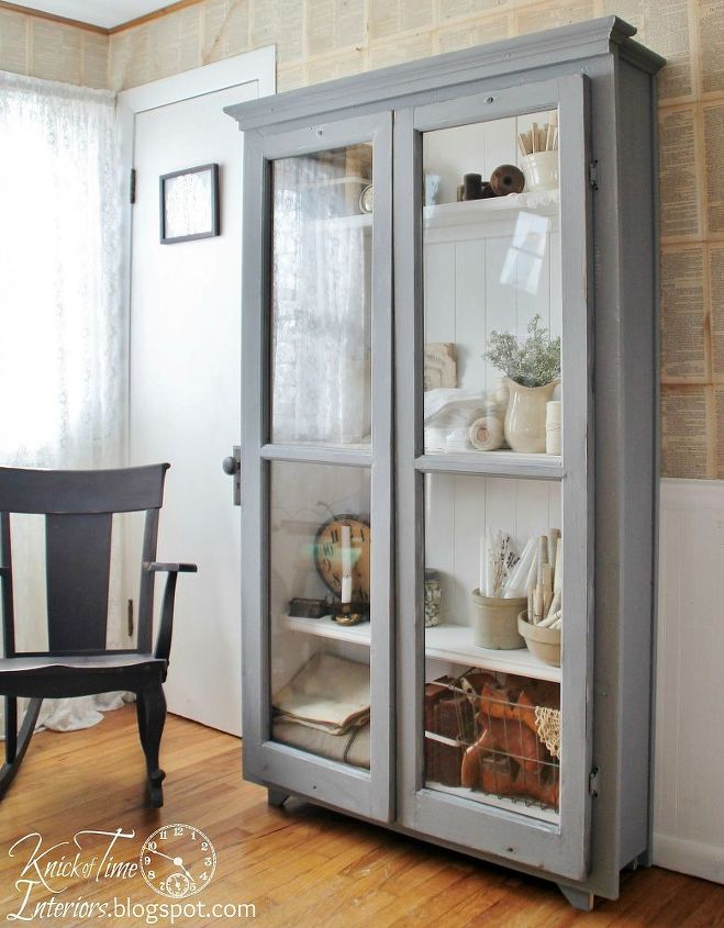 repurposed windows used to create an antique cupboard, diy, painted  furniture, repurposing upcycling - Repurposed Windows Used To Create An