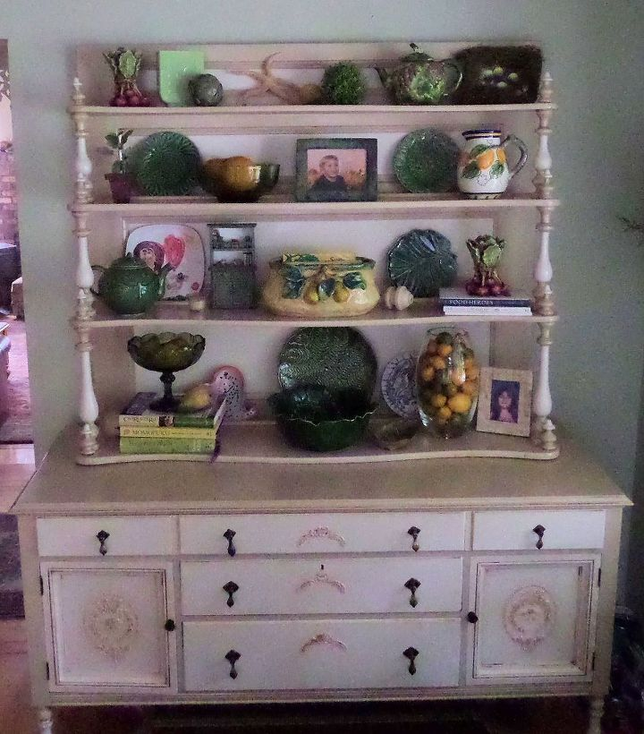Finished sideboard with shelf.  I made the decorative reliefs on the drawers and doors using a stencil with joint compound.