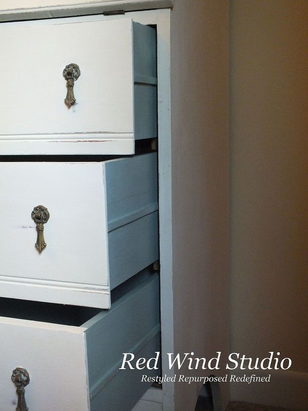 I don't always paint the drawers but in this case I wanted the continuity. It makes the piece look finished and properly dressed. The drawers were a little rough and I wanted to make sure if someone wanted to put nice table linens in the drawers they wouldn't snag on anything.     I put all the hardware back on just the way it was and there you have it. It turned into a pretty little multi-functional unit ready to display treasures and use as a mini office.