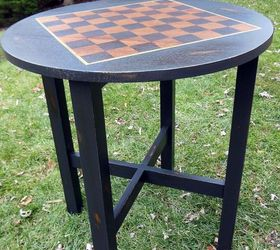 Odd Sized Table To Chess Table, Painted Furniture, Repurposing Upcycling