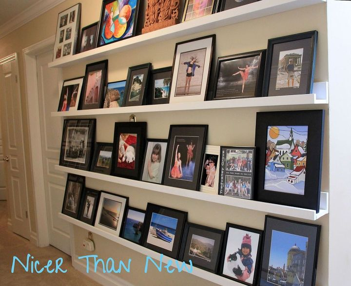 Diy picture gallery shelves hometalk for Gallery wall shelves