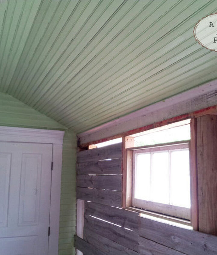 My home was built in 1910.  We have the original beadboard ceiling and the siding.  So, 1970's paneling had to go.  I wanted to do something different so I used salvaged fence panels for the wall.