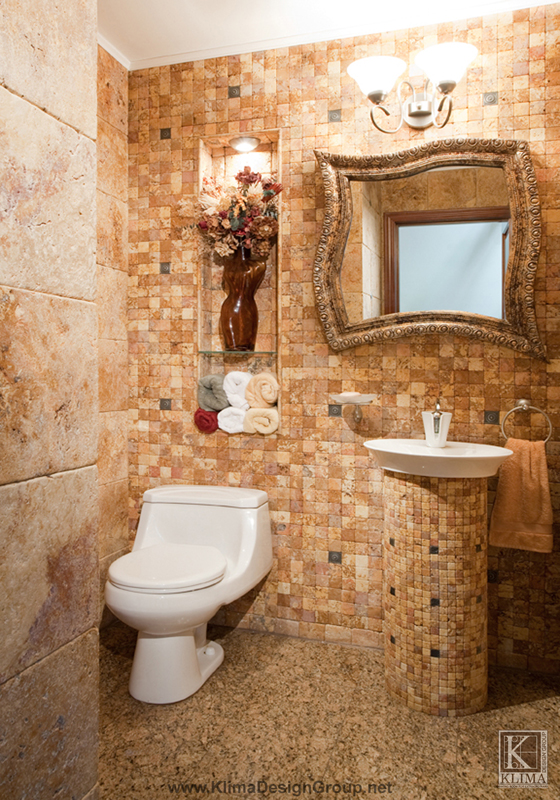 Modern powder room hometalk for Warm feel bathroom floor tiles