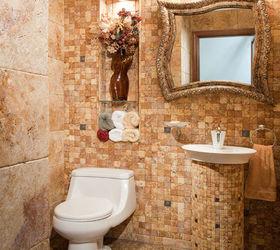 Modern Powder Room, Bathroom Ideas, Home Decor, Warm Earth Tones With  Varied Texture