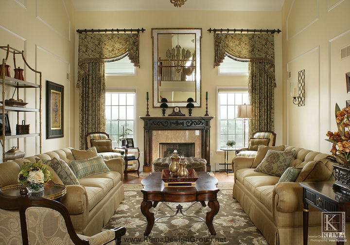 Clic Living Room With Two Storied Window Treatments Home Decor Windows