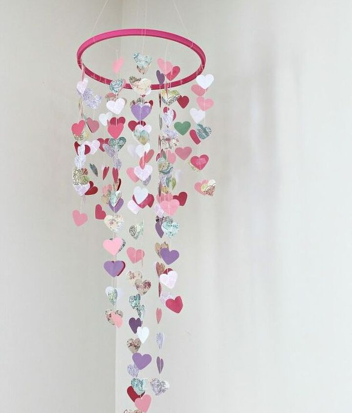 diy valentine s mobile hanging hearts, crafts, seasonal holiday decor, valentines day ideas, Updated photo of the mobile