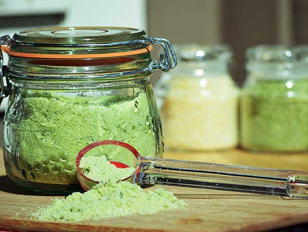 Sea salt made with fresh basil, mint, and thyme is delicious for seasoning  pure food recipes.  They also work as great body scrubs. Make some for yourself and to give as gifts, because everyone appreciates a nice home made touch.