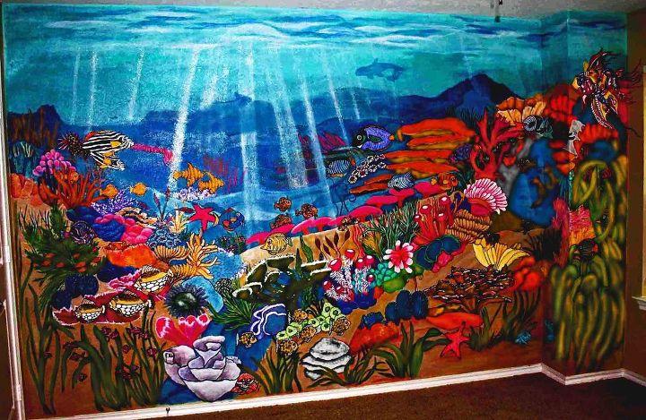 undersea wall, bedroom ideas, home decor, painting