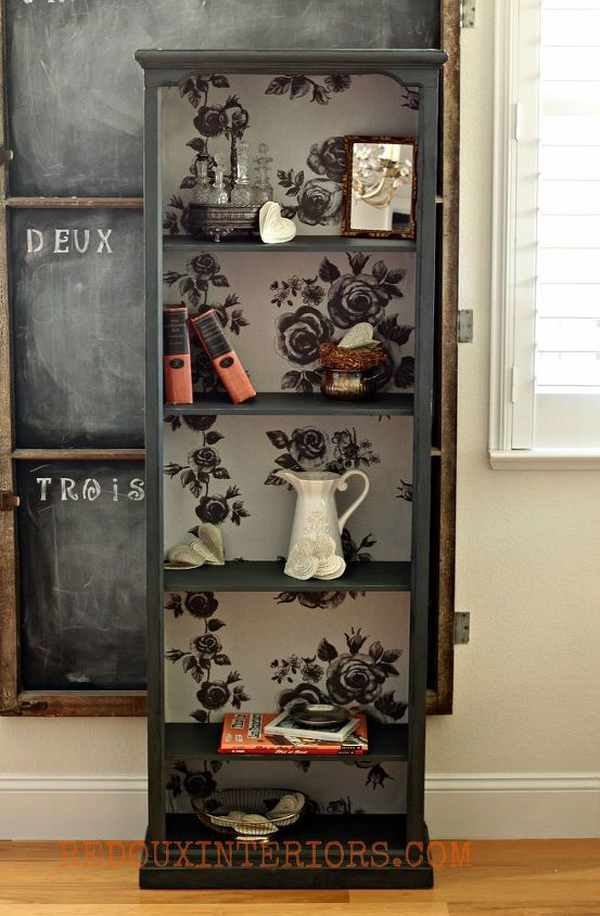 The complete makeover.  Cece Caldwell's Vermont Slate, Fabric from Ikea and new shelves cut.