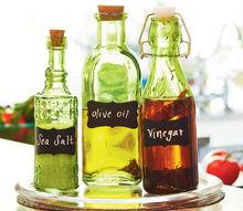 colored glass bottle kitchen set, chalkboard paint, crafts, kitchen design, repurposing upcycling, Chalkboard labels customize kitchen storage bottles