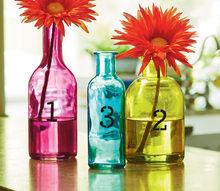 stenciled colored bottle vase set, crafts, home decor, painting, Stenciled Colored Bottle Vases materials list