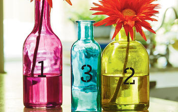 Stenciled Colored Bottle Vase Set
