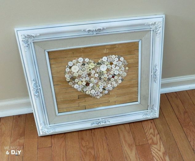 Old Frame Repurposed With Faux Pallet Button Heart Art   Hometalk