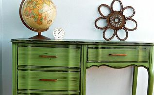 vintage green desk makeover, painted furniture, rustic furniture