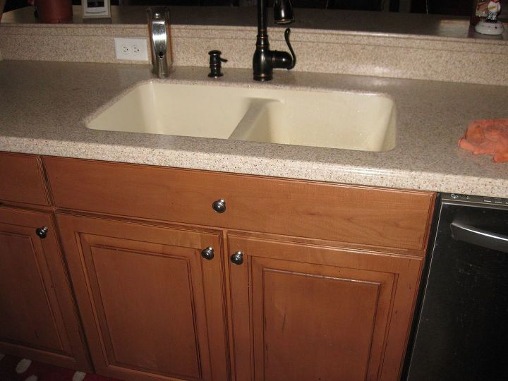 q replacing a corian sink with a farmhouse sink, countertops, diy, home improvement, kitchen cabinets, kitchen design