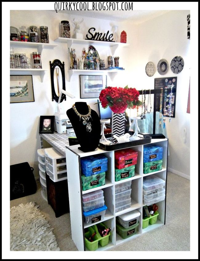 closet office craft room combination budget, craft rooms, home decor, home office, shelving ideas, storage ideas