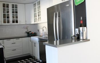diy ikea kitchen white and gray, diy, home improvement, kitchen design, IKEA cabinets gray quartz counters white subway title dark hardwoods For a complete kitchen gut job this was made it easier on the budget