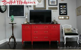 country chic paint red buffet makeover, painted furniture, The red works perfectly with the navy and kelly green in the rest of my living room