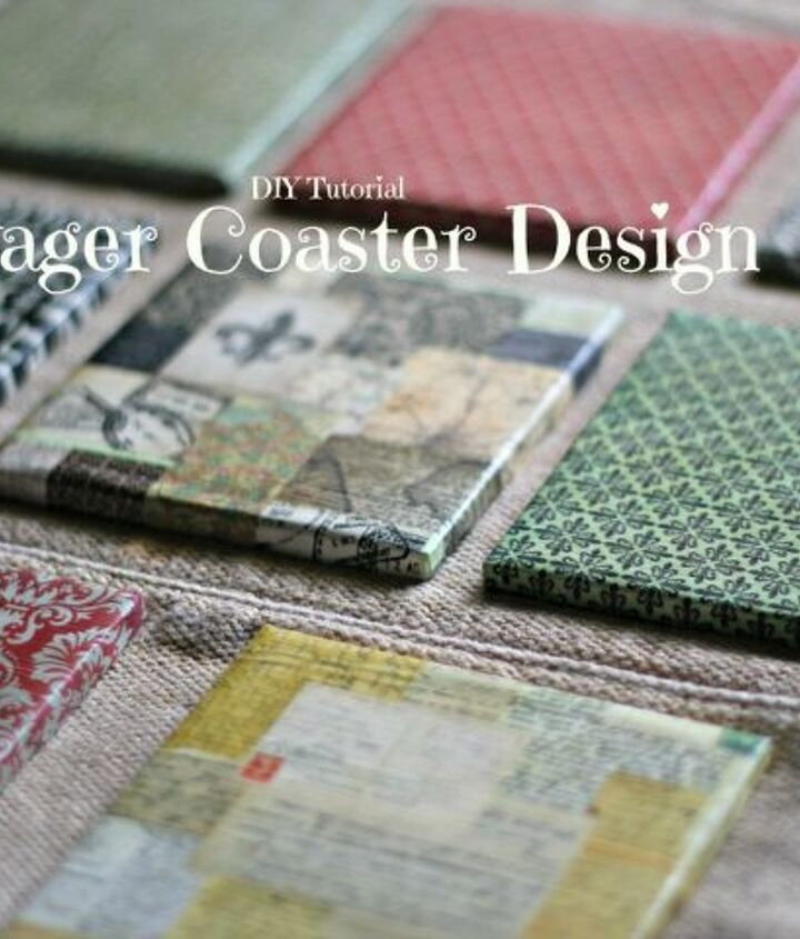 Voyager Cardstock and bathroom tiles to make pretty drink coasters!