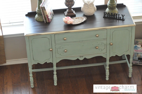 A custom mix of American Paint Company's Paint to create this pale aqua/minty goodness.  General Finishes Java Gel Stain Top