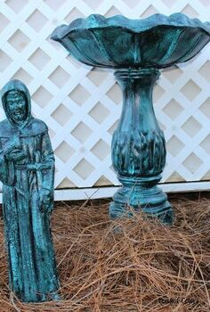 painting a verdigris finish on concrete or metal statues, gardening, painting, repurposing upcycling, These items are over 20 years old When I purchased them they were painted in a verdigris finish that I loved and has held up well