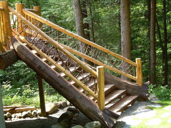 set of custom log stairs 30 degree turn to hit the grade, decks, outdoor living, Custom Log work in Hague NY