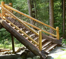 Set Of Custom Log Stairs 30 Degree Turn To Hit The Grade, Decks, Outdoor