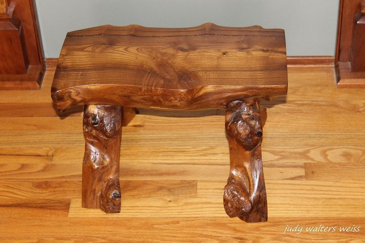 when mother nature brings down your tree make a bench, diy, painted furniture, woodworking projects, Randy enjoyed the challenge satisfaction of making it with tools that craftsmen of the past would ve used