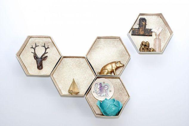 Diy hexagon wall shelves the easy way hometalk for Easy way to make shelves