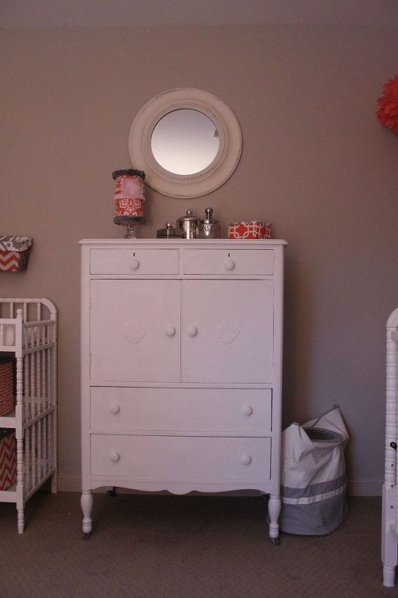 coral gray diy vintage nursery, bedroom ideas, chalk paint, home decor, painted furniture, repurposing upcycling